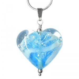 Ashes Glass Heart Pendant memorial jewellery