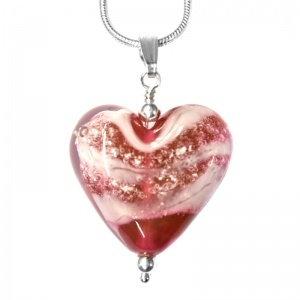Pets Ashes Glass Heart Pendant memorial jewllery
