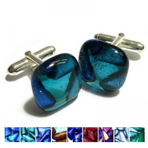 Ashes into Dichroic glass Cufflinks