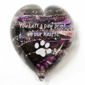 Pet's Cremation Ashes Into Hand Held Glass Heart