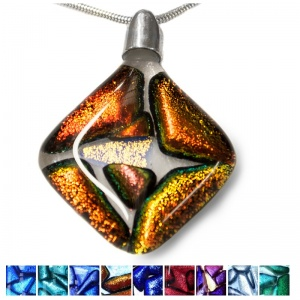 Pets Dichroic Ashes into Diamond Mosaic Pendant