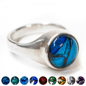 Ashes of a pet into Silver & Dichroic Glass Signet Ring