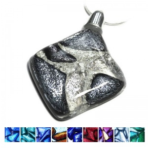 Dichroic Ashes into Diamond Mosaic Pendant