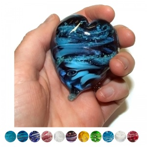 Glass with Ashes Handheld Memory Heart
