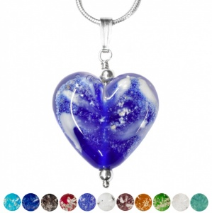 Ashes Glass Heart Pendant memorial jewllery