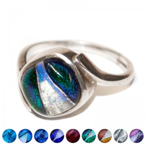 Pets Ashes into Silver & Dichroic Glass Twisted Ring