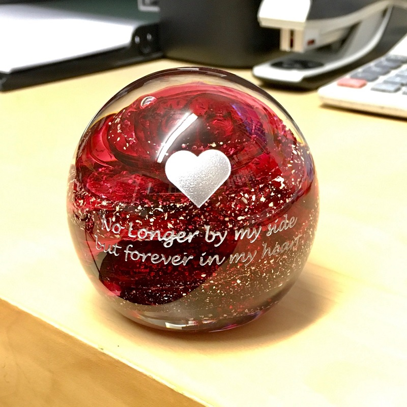 ruby paperweight keepsake with heart and message